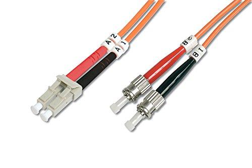 DIGITUS LWL Patch-Kabel OM2 - 2 m LC auf ST Glasfaser-Kabel - LSZH - Duplex Multimode 50/125µ - 10 GBit/s - Orange