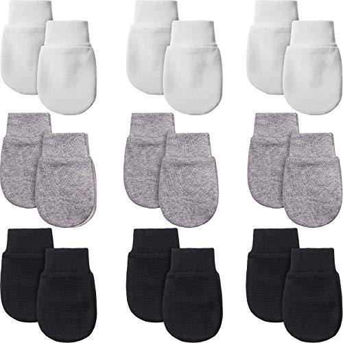 9 Pairs Newborn Baby Mittens Infant Toddler Gloves No Scratch Mittens Unisex Gloves for 0-6 Months Baby Boys Girls (Black, Gray, White)