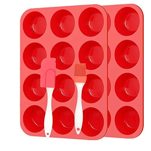 Vassoio antiaderente per 12 muffin,Teglia in silicone per muffin Stampo pirottini in silicone per forno e microonde, lavabile in lavastoviglie