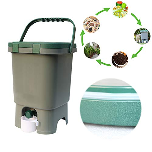 Best Bargain Gray 15L Kitchen Waste Composting Bucket, Fungus Chaff Fermentation Bucket, Garbage Sor...