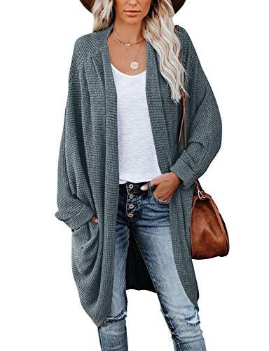 MEROKEETY Women's Waffle Knit Batwing Long Sleeve Cardigan Loose Open Front Sweater Coat, DustyGreen, M