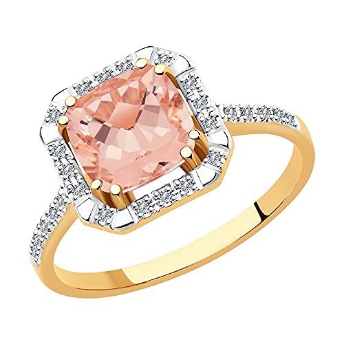 Ring aus 14K (585) Rotgold mit Morganit im Cushion-Schliff und 28 Diamanten im Rundschliff