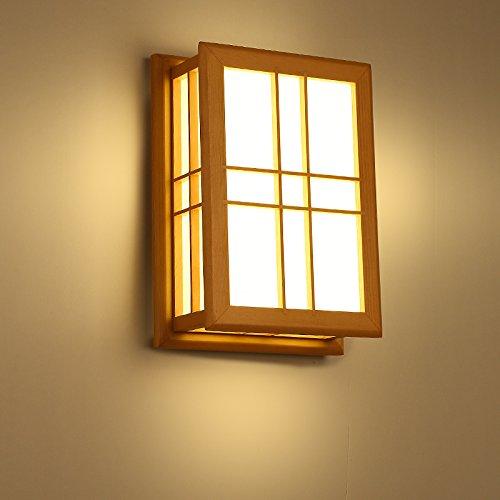 Modern LED Wandleuchte Vintage. Und Zimmer Wandlampe japanische Tatami Wandlampe Hotel Club Zimmer Wandleuchte Massivholz Kunst Nachttischlampe Wandleuchte, Shoji-Papier ohne Lichtquelle