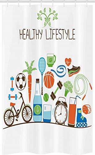 ABAKUHAUS geschiktheid Douchegordijn, Healthcare Wellness, voor Douchecabine Stoffen Badkamer Decoratie Set met Ophangringen, 120 x 180 cm, Veelkleurig