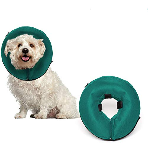 ProCollar Protective Inflatable Recovery Collar for Dogs and Cats - Soft Pet Collar Does Not Block Vision E-Collar - Designed to Prevent Pets from Touching Stitches, Wounds and Rashes (Small)