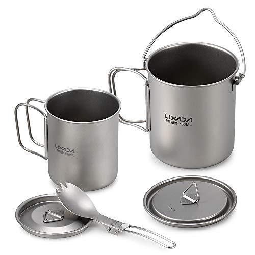 Lixada Taza para Camping Titanio Portable Taza de Agua con A