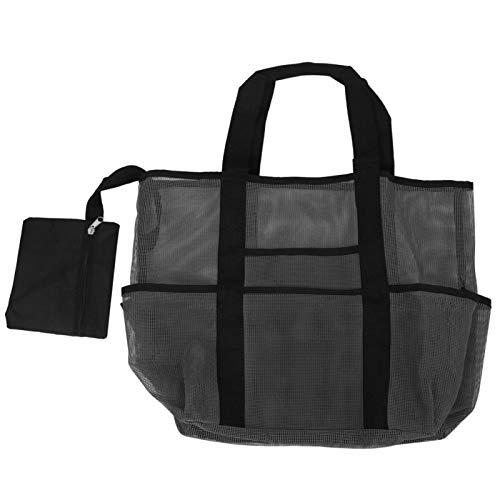 Xirfuni Organizador de Playa, Bolso de Playa Grande con 8 Bolsillos Grandes para Viajes en Familia(Black)