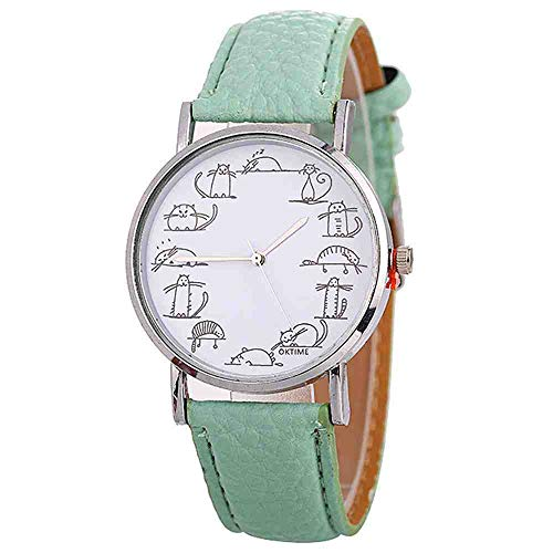 OLUYNG Armbanduhr Uhr-Damen-weiße schöne Mode-kreative Karikatur-Uhr-Damen-Nette Katzen-Uhr für Geschenk