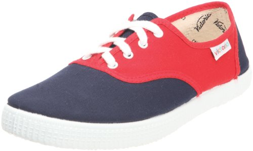 Calego Inglesa Bicolor - Zapatos de tela unisex, Multicolor (rojo marino), 35