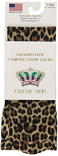 Celeste Stein Therapeutic Compression Socks, Hairy Leopard, 8-15 mmhg, .6 Ounce