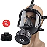 Full Mask Gas Mask, Large Size Accessories Filter Respirator Canister Protection Millitary Mask, Used in Organic Gas Paint Chemical Wood Working Dust Protectio