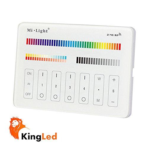 Mi-Light® Controlador de pared táctil multizona, serie Milight, modelo M4, regulador para tiras y focos multicolor RGBW y con coloración de temperatura regulable CCT, 4 zonas de control