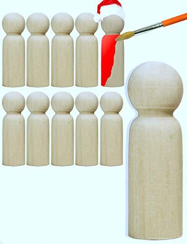HomeTools.eu® - 10x Holz-Figuren, gedrechselte Echtholz Rohlinge zum Basteln, Dekoration, Spielzeug, Bemalen, Bekleben, Weihnachts-Männer, Engel, Puppen, Männlein, 6 x 2cm, 10er Set