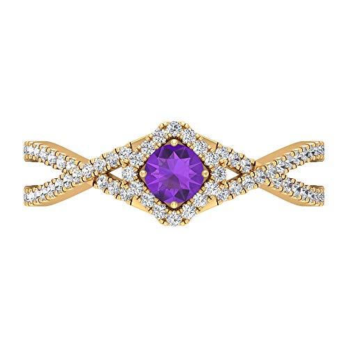Rosec Jewels 14 quilates oro amarillo redonda round-brilliant-shape H-I violeta Diamond Amethyst