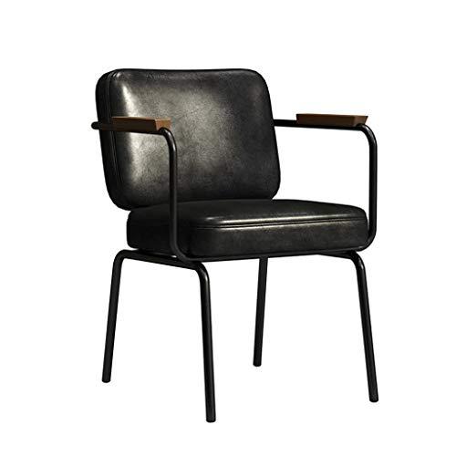 Vintage Bürostuhl Küche Esszimmerstuhl brauner Ledersessel, Metallbeine mit Armlehnen und Rückenlehne, Küchenbüro Lounge Wohnzimmer Sessel Sessel (Farbe : Schwarz)
