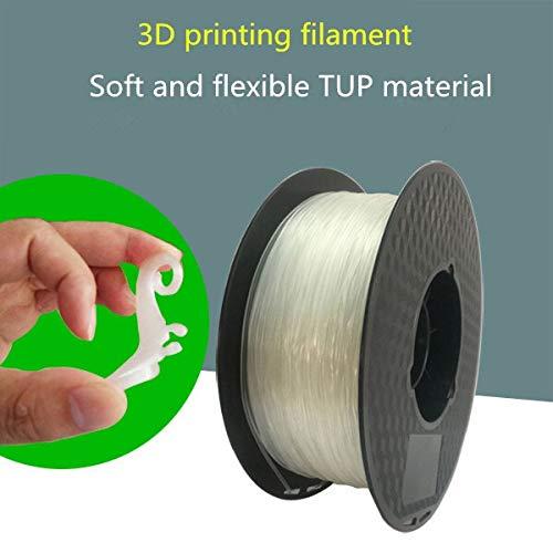 HUANRUOBAIHUO Filamento impresión 3D filamento elástico TPU Flexible de 1,75 mm Material elástico consumible 0,5 / 1kg Suministros de la Impresora (Color : Transparent ORA0.5Kg)