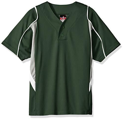 Alleson Ahtletic Jungen Baseball-Trikot, Dunkelgrün/Grau/Weiß, Größe M