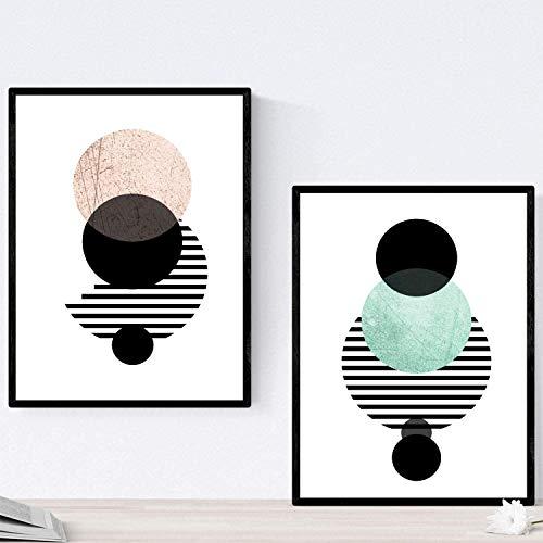 Nacnic Set de 2 láminas para enmarcar Eclipse Lunar Posters Estilo nórdico para la Tamaño A4. Láminas con imágenes geométricas en Estilo escandinavo