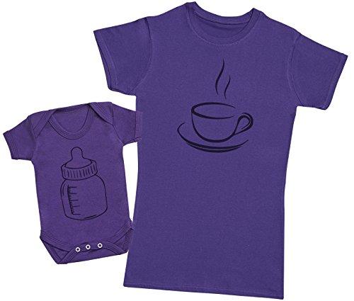 Zarlivia Clothing Coffee and Milk - Ensemble Mère Bébé Cadeau - Femme T Shirt & bébé Bodys - Violet - XL & 12-18 Mois