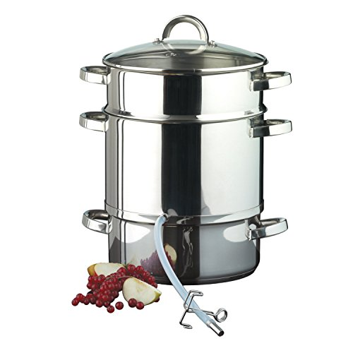 Ribelli Entsafter aus Edelstahl induktionsgeeignet ca. Ø 25 cm ca. 17 Liter Füllvolumen Dampfentsafter mit Glasdeckel - schonendes Entsaften von Obst und Gemüse