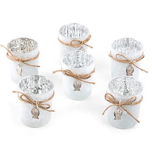 Logbuch-Verlag 6 Teelichtgläser weiß maritim mit Fisch Silber Teelichthalter aus Glas Tischdeko Tischschmuck Geburt Taufe Kommunion Badezimmer Deko