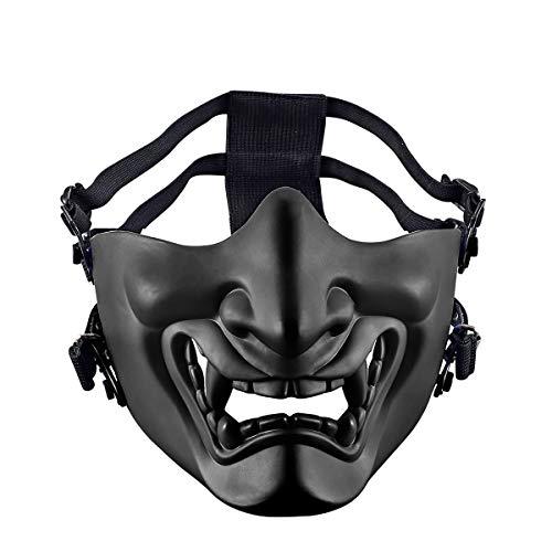 Aoutacc Máscaras de media cara Airsoft, malvado demonio monstruo Kabuki Samurai Hannya Oni máscaras protectoras de media cara para baile de máscaras, fiesta, Halloween, juego de guerra Cs