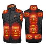 joyvio Chaleco calefactable Mejorado 2021 para Hombres, Chaqueta calefactora de Doble Control, Chaleco Recargable USB para Caza, Pesca (Color : Black, Size : 4XL)