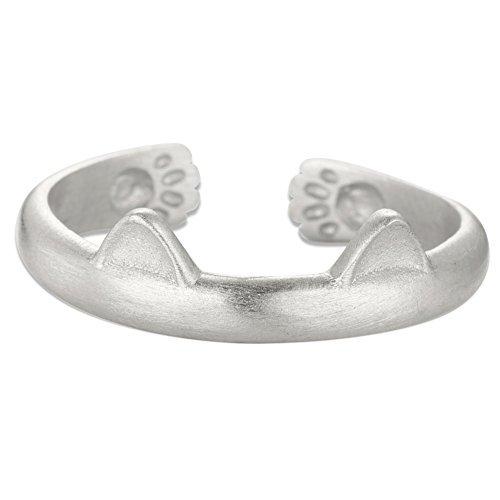 Sweetiee niedliche Design Sterling Silber Manschette Ring, mit Katzenohren, Silber, 17 mm Ringen