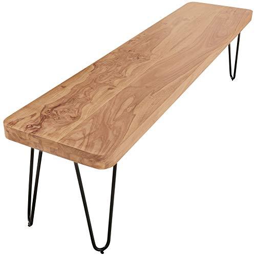 FineBuy Massive Sitzbank 160 x 40 cm Harlem Akazie Holz Bank für Esstisch Massiv | Küchenbank Massivholz | Essbank ohne Lehne für Esszimmer