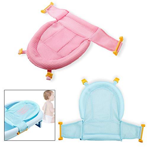 Malla Bañera Bebe,Qiundar 2 Pcs Asiento Apoyo Bañera Bebe Hamaca Bañera Recien Nacido Baby Bathtub Net para Bebés de 0 a 3 Años(Azul,Rosado)