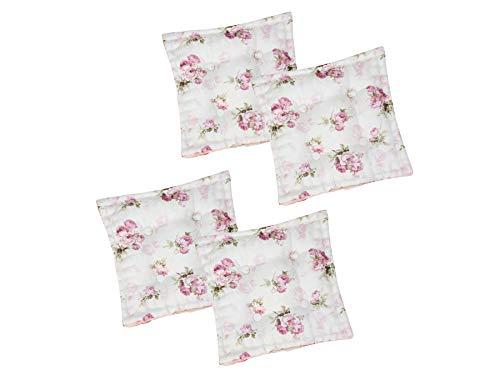 4er Set Sitzkissen Stuhlkissen ROSI 40x40x8 Rosen - rosa weiß Landhaus