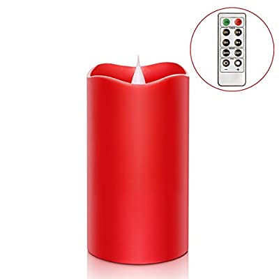 Remote Control 3D Moving Flame Led Candle with Timer, Battery Operated Candle for Home and Christmas Decoration,Red