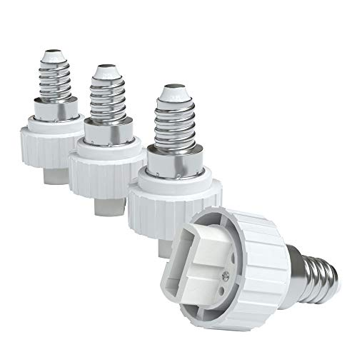 4x Lampensockel Adapter – Konverter für E14 Fassung auf G9 | Lampenadapter für LED-/Halogen- und Energiesparlampen | Sockeladapter von EAZY CASE, weiß