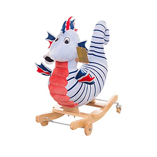 MBCL Rocking Chair Baby Toys Solid Wood Children 2 in 1 Rocking Horse Rocking Chair 2-10 Years Old,KidsTraditional Toy Rocking Ride-On Toy