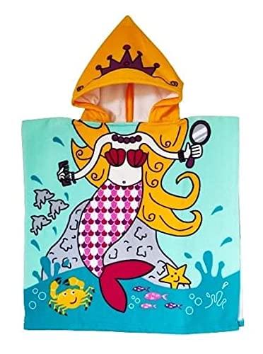 Goods4good Toalla Poncho Infantil Playa Piscina con Capucha Dibujo Dinosaurio Sirena Princesa Astronauta Campanilla Niño Niña Secado Rápido Albornoz Baño Natación Bebé 60x120cm (Naranja)