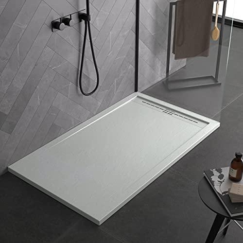 Plato de ducha de mineral blanco con efecto pizarra serie Paris Slim 3 cm, revestimiento de Gelcoat, antideslizante (80 x 170)