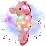 Houwsbaby LED Musical Stuffed Seahorse Floppy Singing Light Up Adorable Plush Toy Lullaby Animated Soothe Birthday for Kids Toddler Girls, Pink, 15.7''