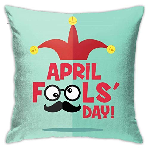 EU April Fool's Day Decorative Throw Pillow Cover Polyester Cushion Case for Home Sofa Bedroom Car Chair House Party Indoor Outdoor 18 X 18 Inch 45 X 45 cm