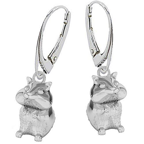3D Hamster stabile Brisur Ohrringe 925 Echt Silber Kinder Mädchen Damen Maus