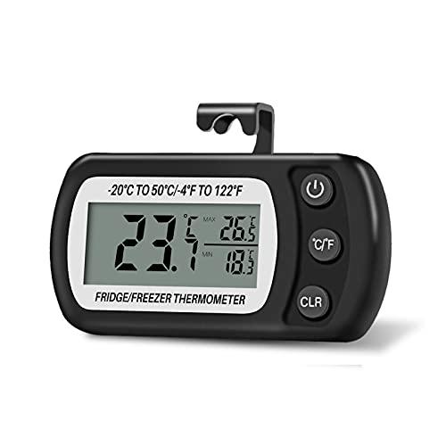 Thlevel Termometro Frigorifero Termometro Digitale per Frigorifero Congelatore Impermeabile con Gancio, Display LCD, Funzione Max Min (Nero)