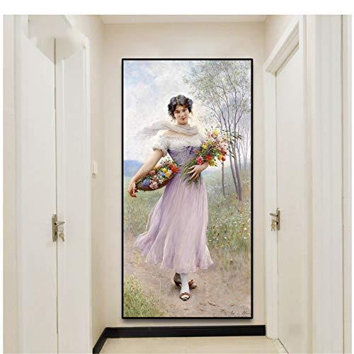 Een meisje in Lila Jurk van Blaas Canvas Schilderij Kalligrafie Posters Foto's Muurkunst Prints Decoratie voor Woonkamer Slaapkamer -50x100cm Geen Frame