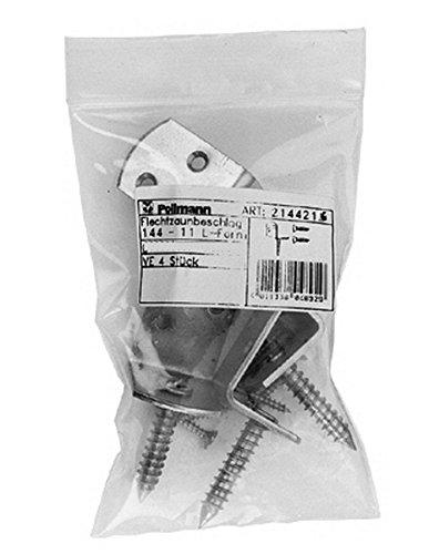 Pollmann Baubeschläge 2144216 Flechtzaunbeschlag L-Form SB verpackt à 4 Stück, Edelstahl