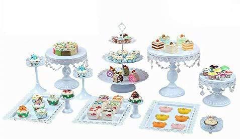 WUPYI2018 - Juego de 12 soportes para tartas de cristal blanco con forma de torre de postres hechos de hierro, para bodas, cumpleaños, fiestas, redondos, de metal, para cupcakes, postres, platos, etc.