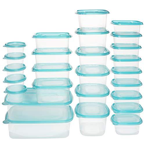 BELLE VOUS Contenedor Comida Plástico Transparente Reutilizable (Pack de 26-5 Tamaños) – Hermético, Recipientes Libres de BPA Fiambrera Almuerzo Microondas, Lavavajillas, Congelador