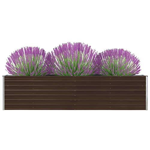 vidaXL Jardinera de Jardín Macetero Caja para Plantar Plantas Macetas de Patio Exterior Acero Galvanizado Marrón 320x40x77cm