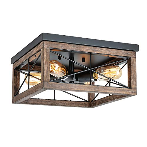 Eyassi 4-Light Wooden Flush Mount Ceiling Lights, Farmhouse Close to Ceiling Lighting Fixtures Black Ceiling Lamp for Kitchen Island Living Room Bedroom Hallway Laundry Entryway