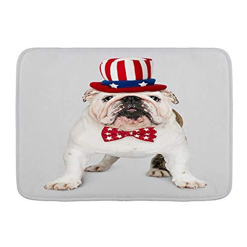 XINGAKA Alfombra de Baño Antideslizante,Lindo Cachorro de Bulldog inglés Blanco con Sombrero y Corbata de moño del tío Sam,Absorbente Tapete del Piso de Microfibra de Lavable a Máquina