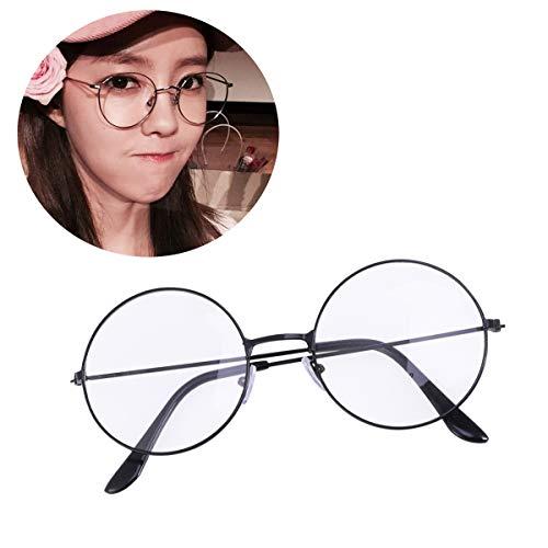 LUOEM Unisex Retro Runde Brillen Klare Linse Gläser Ultra Light für Santa Claus und Harry Potter Cosplay (schwarz)