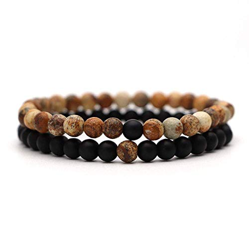 Bracelet for Women Christmas Jewellery Elastic Rope Pair Tiger Eye Pearl Lava Natural Stone 6 mm Rosary Blue Zinc Plated
