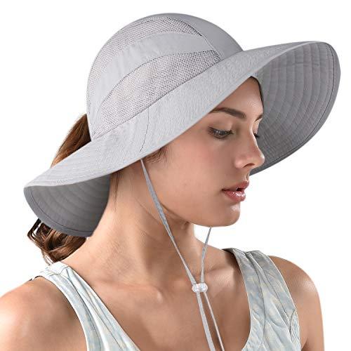 FURTALK Safari Sun Hats for Women Wide Brim UV UPF Ponytail Outdoor Hunting Summer Fishing Hiking Hat (C-New Light Grey, One Size)